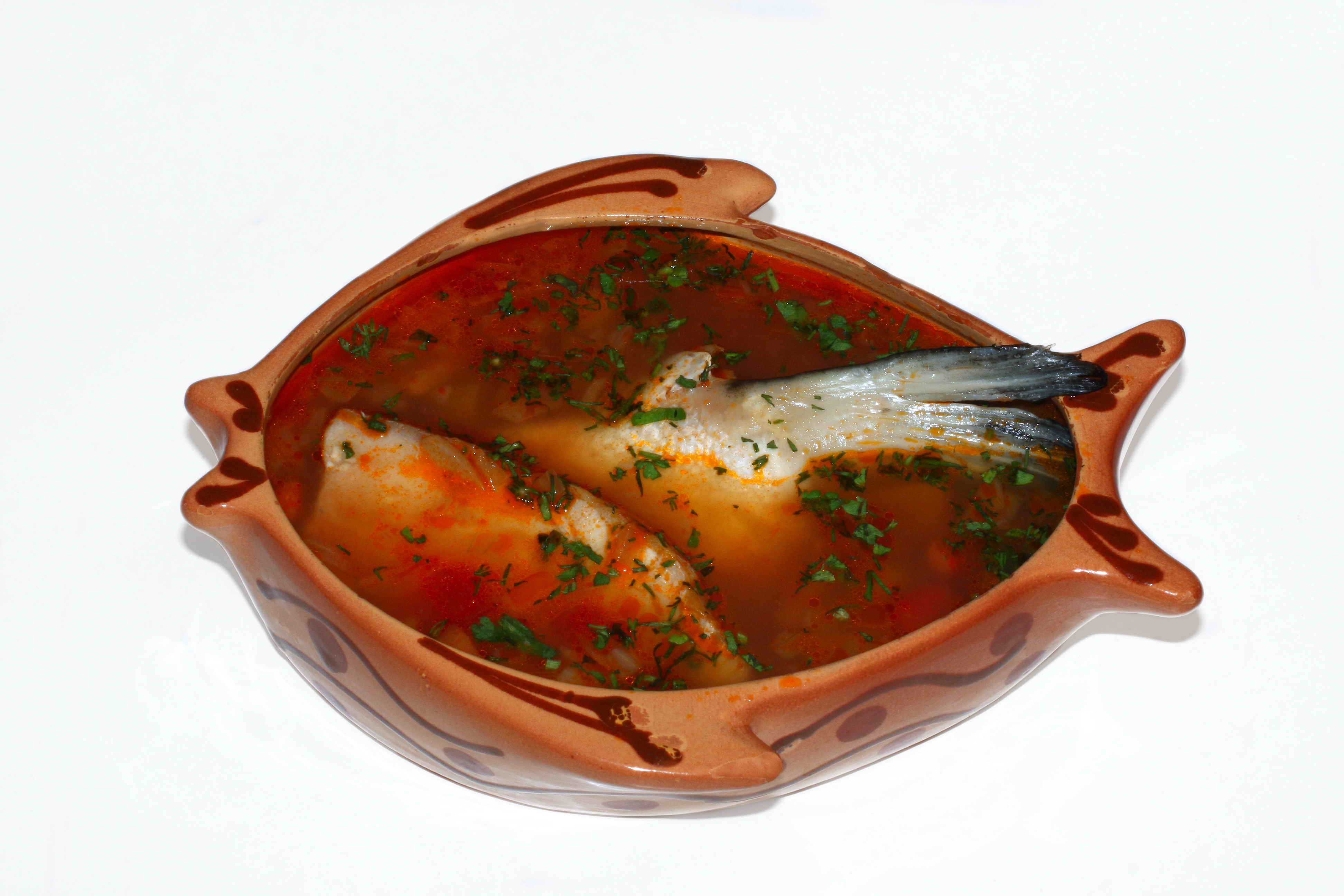 Kinglike fish soup with chicken bouillon