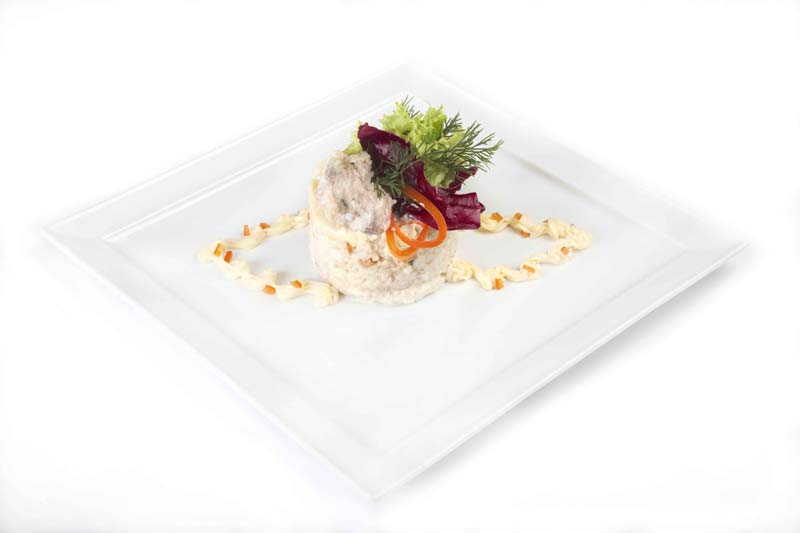 Fish salad with siberian whitefish in jell and quail egg